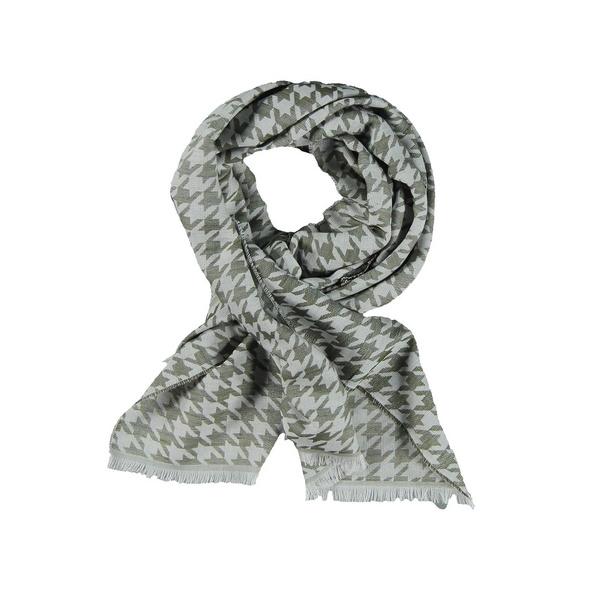 Schal mit Leinenanteil und dezentem Muster.