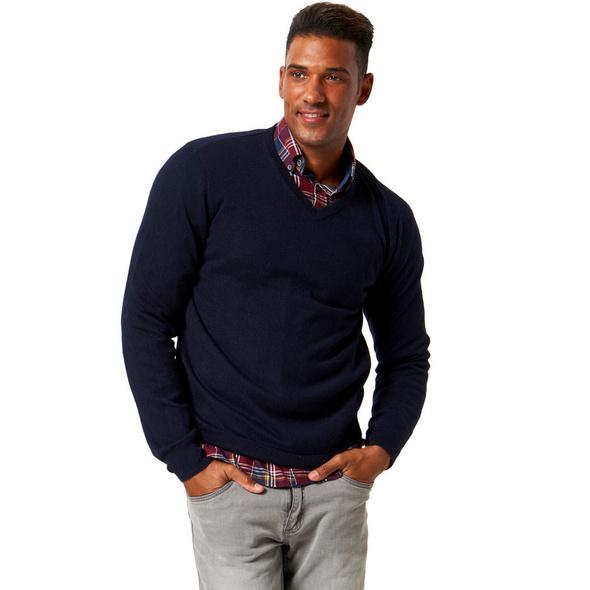 Seide-Cashmere-Pullover, V-Ausschnitt, für Herren
