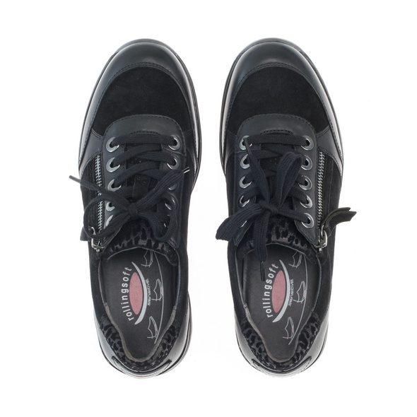 Sneaker low Materialmix Leder/Lederimitat
