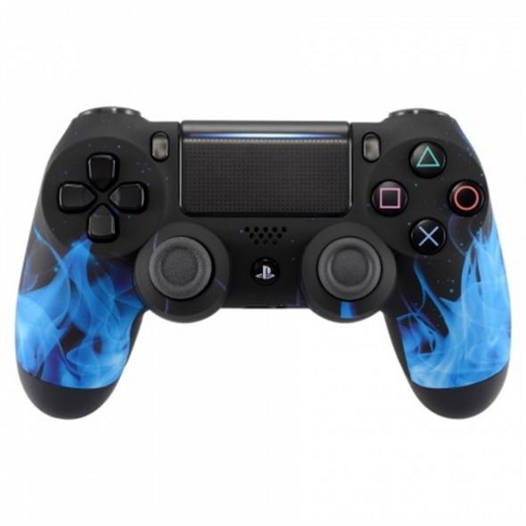 PS4 Dualshock Rebuilt Controller Blaue Flammen (Softtouch)