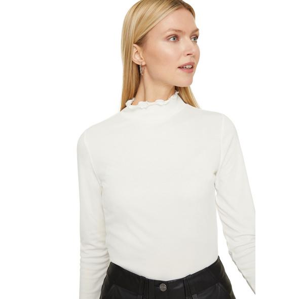 Langarmshirt mit Rüschenkragen - Modalmix-Shirt