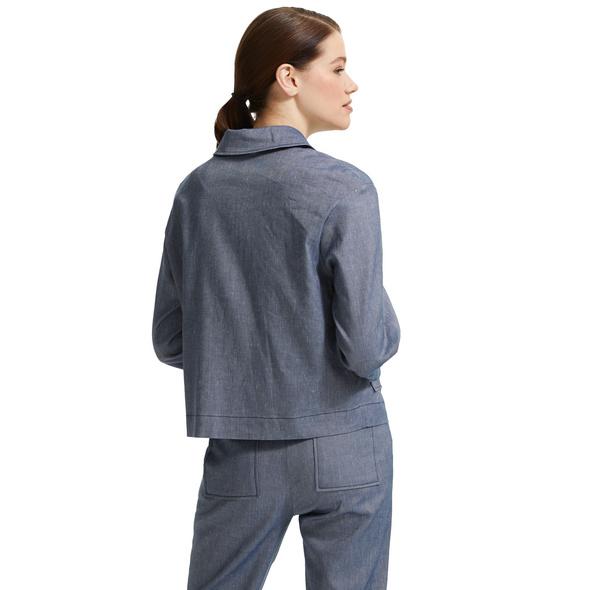 Verkürzte Jacke mit Boxy Shape - Leinenmix-Jacke
