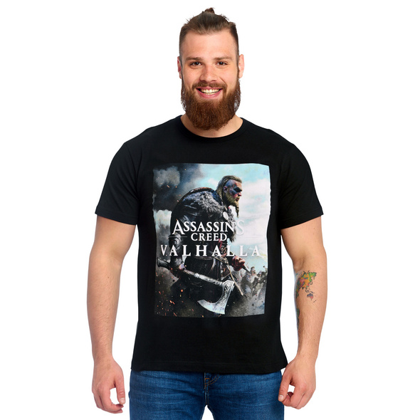 Assassins Creed - Valhalla Cover T-Shirt schwarz