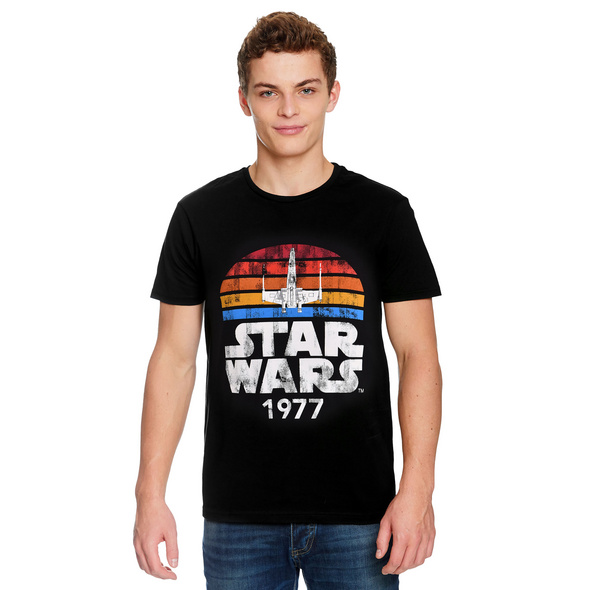 Star Wars of 1977 Retro T-Shirt schwarz