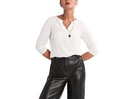 3/4-Arm-Shirt mit Satinblende - Materialmix-Shirt