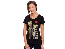 Guardians of the Galaxy - Groot Button T-Shirt Damen schwarz